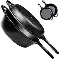 pre-seasoned Cast Iron 2イン1コンボcooker|3-quart Dutch Ovenとスキレット蓋セットオーブン安全な調理器具として使用| Dutch Ovenとフライパン|インドアとアウトドア使用|グリル、Stovetop、Induction Safe