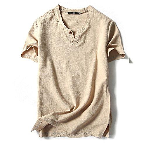 (オリマート)ORI-MART スウェット Vネック 半袖 Tシャツ 麻 無地 ストリート系 カジュアル シャツ メンズ (XL(日本サイズM相当), ベージュ)