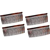 Parcelona French Large 3.5 Inches Glossy Tortoise Shell Celluloid Good Grip Updo Hair Side Combs 4 pcs [並行輸入品]