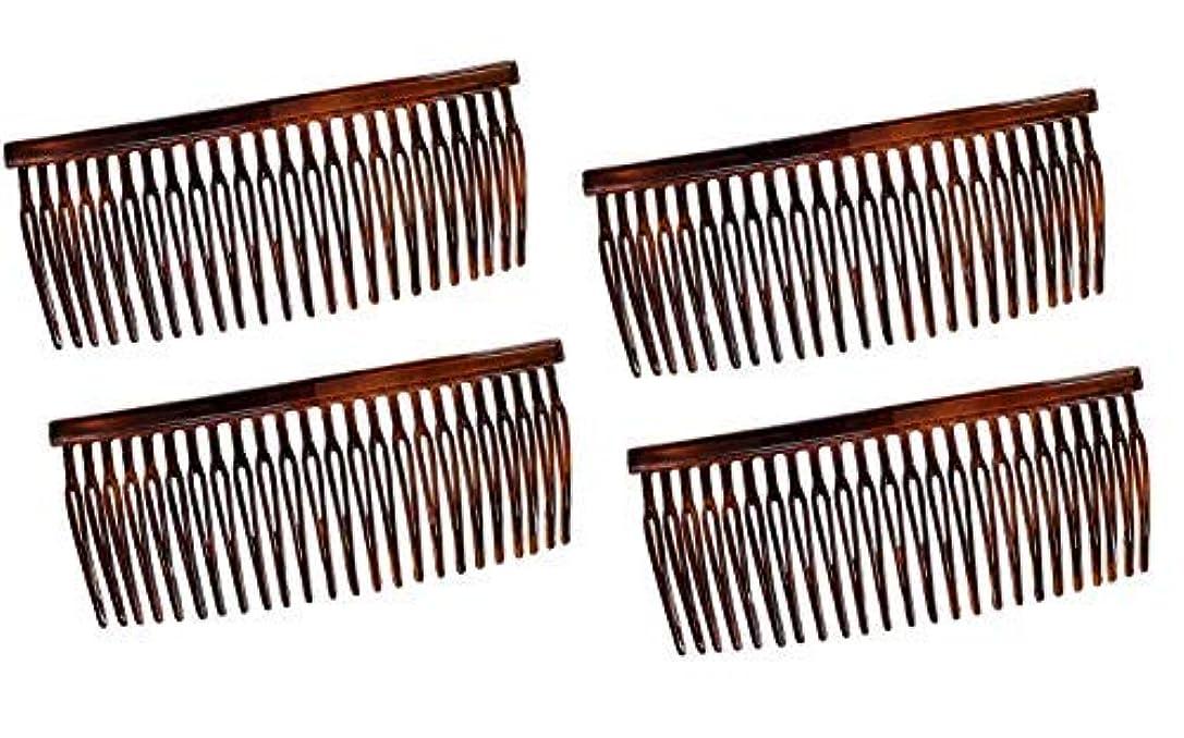 促進するワンダーペダルParcelona French Large 3.5 Inches Glossy Tortoise Shell Celluloid Good Grip Updo Hair Side Combs 4 pcs [並行輸入品]