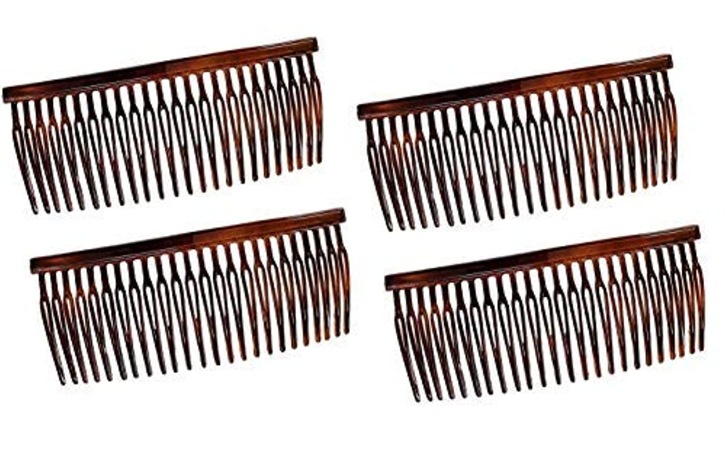 赤謝罪悪行Parcelona French Large 3.5 Inches Glossy Tortoise Shell Celluloid Good Grip Updo Hair Side Combs 4 pcs [並行輸入品]