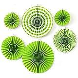 紙ファン6ピース/セット手作りの家の装飾誕生日RFIDブロッキングラウンド3D花パーティーDIYぶら下げ祭り(グリーン)