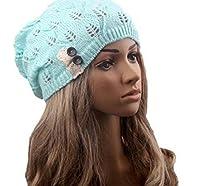 Emoyiレディース冬ベレーニットかぎ針編みスローチバギービーニー帽子キャップ US サイズ: M カラー: ブルー