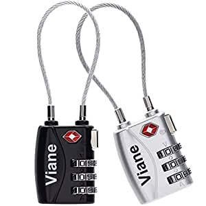 TSA鍵 安心 ワイヤータイプ 2色セット旅行用 3桁ダイヤル式ロック Viane