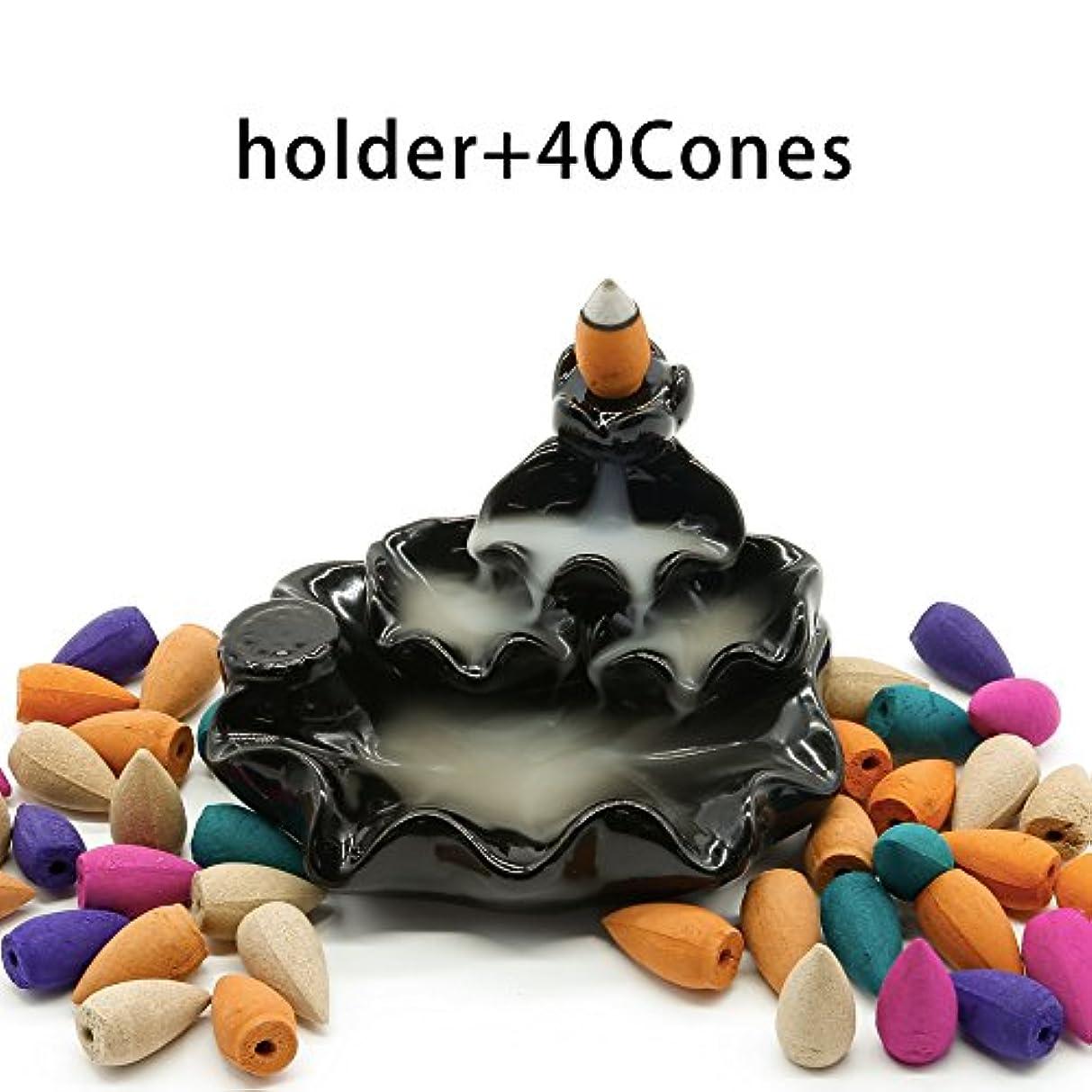 レジ取り付け白菜omonic Zen Gardenセラミック逆流香炉、さまざまなミックスアロマセラピーIncense Conesとホルダー/バーナーセット、Include 40 Cones ( 8種類アソート)