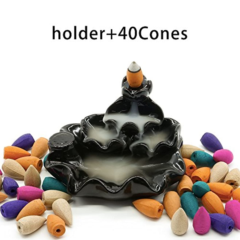 致死鳴り響く反応するomonic Zen Gardenセラミック逆流香炉、さまざまなミックスアロマセラピーIncense Conesとホルダー/バーナーセット、Include 40 Cones ( 8種類アソート)