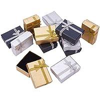 PandaHall Elite 約12個/セット ギフトボックス ギフト箱 ミックス 蝶結び リボン付き 高級 長方形 ジュエリー ボックス プレゼント用ケース ネックレス用 多用ケース 紙箱 ラッピングボックス 70x50x25mm カラフル 小物入れ アクセサリーボックス
