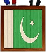 Rikki Knight Pakistan Flag on Distressed Wood Design 5-Inch Wooden Tile Pen Holder (RK-PH8765) [並行輸入品]