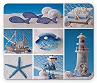 Nautical Mouse Pad by Lunarable Marine Theme Design Objects Fishes Shells Starfishes Pearls Lighthouse Sailboat Standard Size Rectangle Non-Slip Rubber Mousepad Blue White [並行輸入品]