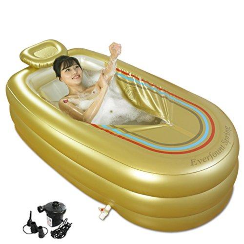 GYP インフレータブルバスタブプラスチックフォールド厚い絶縁バス環境保護バスルームバスタブアダルトバスバレル浴場プール ( 色 : ゴールド )