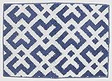 北欧デザイン・バスマット【クロス】 45×65cm 【北欧モダン】【タフトラグ】【ミニマット・玄関マット】 (ブルー)