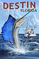 Destin、フロリダ州 – Sailfish 9 x 12 Art Print LANT-52815-9x12