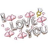 Baosity バルーンセット 風船 I Love You ハート型 ダイヤモンドリング型 ロマンチック 飾り デコレーション アルミニウム箔 恋人/夫婦 プレゼント サプライズ