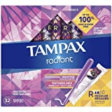 Tampax Radiant Plastic Tampons, Regular Absorbency, Unscented, 32 Count