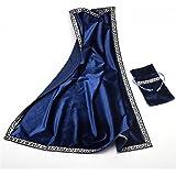 AVIL 厚手 高級ベルベット調 大判 タロットクロス シルバーの刺繍の縁取り 同柄のポーチ付き (ブルー)