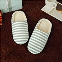 Women's & Men's Striped Indoor Cotton Slippers Anti-Slip Winter House Shoes Soft Bottom Cotton Slippers Home Slippers - Green 40/41