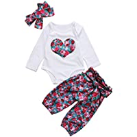 Emmababy Baby Girls' 3Pcs Clothes Heart Print Romper + Floral Pants + Set