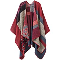 FLORICA Women's Shawl Cape Wrap Poncho Pashminas Knitted Multi-Colored Open Front Oversized Blanket