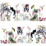3 Sheet Nail Art Sticker Nail Decal Full Nail Wrap Art Chinese Peking Opera (A)