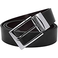 Men's Genuine Leather Dress Belt Reversible with 1.3 Wide Single Prong Rotated Buckle Gift Box Valentine's Day Gift
