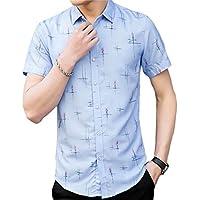 YYG Men's Floral Short Sleeve England Plus Size No Iron Formal Blouse Shirt Tops