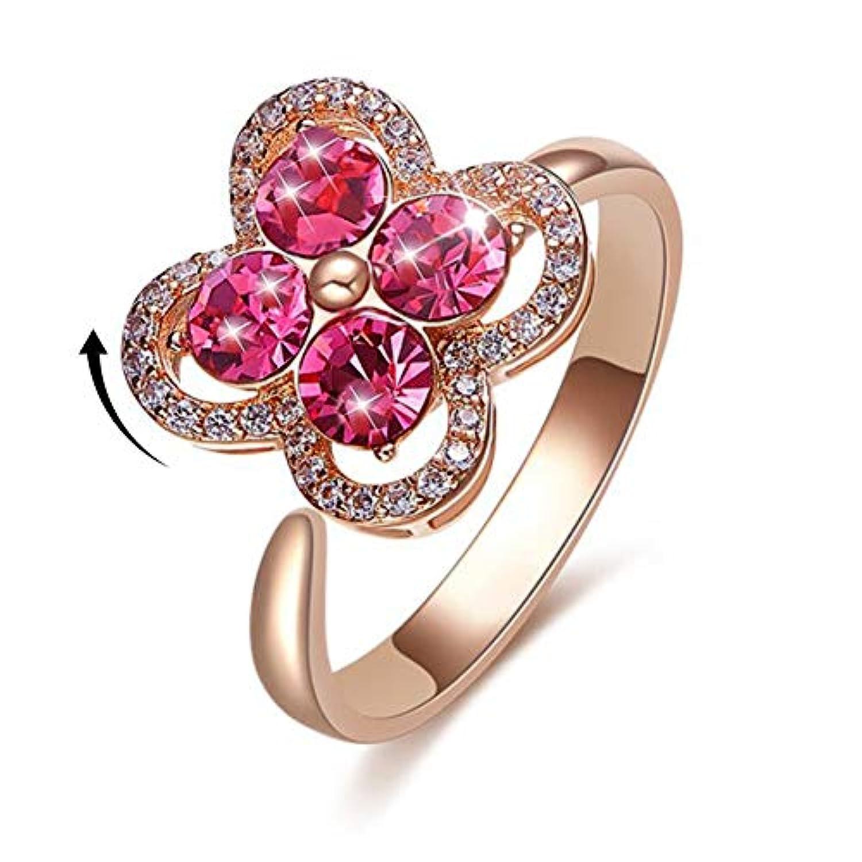 Fidget ring 回転リング、女性用リング記念ジルコンリング、不安を解消してストレスを解消することができるリング、指先ジャイロ (ローズゴールドクローバー)