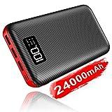 モバイルバッテリー 大容量 24000mAh 急速充電 LCD残量表示 ほとんどのスマホ/ゲーム機/カメラ/iPadに対応でき 地震/災害/旅行/出張/アウトドア活動などに大活躍(黒と赤)