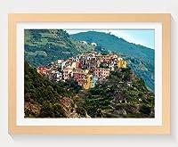 壁掛けインテリア絵画 - イタリア住宅山脈コルニグリャチンクエテッレ - 天然木の色 壁掛け モダン インテリア アート 風景画 装飾 壁飾り 部屋の装飾 ポスターー - 60cmx40cm