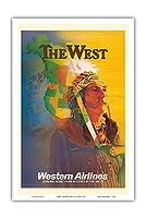 西 - アメリカンインディアンチーフ - ウェスタン航空 - ビンテージな航空会社のポスター によって作成された E・カール・レイク c.1950s - アートポスター - 31cm x 46cm