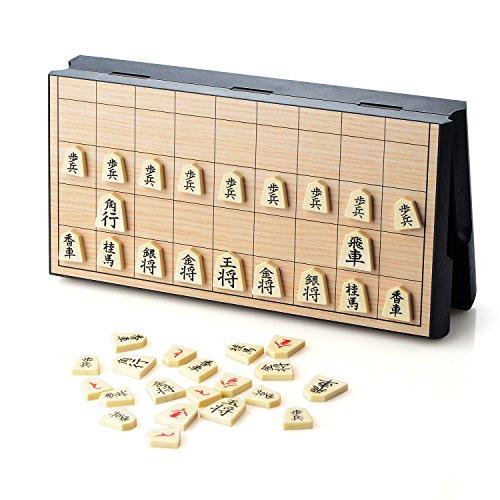 PovKeever マグネット式 将棋セット ショウギ ショコラ 折りたたみ式 持ち運び コンパクト収納 24×24×2cm