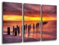 マルチウッドプリントアートプリントボックス額入り写真壁掛け - (全体の大きさ: 97 x 62 cm), 海の風景の夕日 - フレームと準備ができてハングアップ - ref. 26122