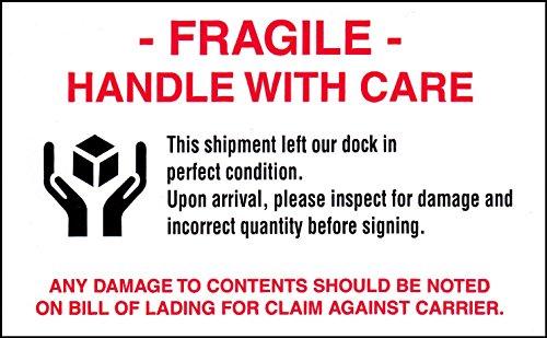 [해외]FRAGILE 중간 크기 꼬리표 스티커 흰색 12.6cm × 7.6cm 10 장 세트 [병행 수입품]/FRAGILE medium size tag seal white 12.6 cm x 7.6 cm 10 pieces set [parallel import goods]