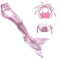 マーメイド テール ガールズ 水着 人魚 モノ 3点セット 夏 キッズ 子供 ベビー コスチューム 人魚姫 着やせ 海 泳ぎ みずぎ 可愛い スイムテール ファッション (140 ピンク + ピンク)