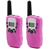 Hyperia Kids Walkie Talkies T-388 8 Channels 2-Way Radio Interphone with Built-in LED Torch VOX LCD Display,1 Pair (Pink)