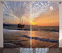 VamJump の航海遮光カーテン垂帘 窗帘 昼夜目隠し 遮像 デコレーション 取り付け簡単、波の中でセーリング海賊船海の中のファンタジー地平線ムーンスカイシュールな風景、リビングルームの寝室の窓ドレープ、多色 2枚組 幅135cm丈230cm