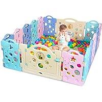 子供用ベビー プレイフェンス 屋内玩具 (色: マルチカラー、サイズ: 18ピースフェンス)。
