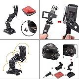 GoPro用オートバイヘルメットチンスイベル3ウェイピボット回転マウントキットHero 7、(2018)、6 5 4 3、Hero Black、セッション、Xiaomi Yi、SJCAM、およびその他のアクションカメラ 画像