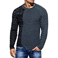 Enjoybuy Mens Ribbed Knit Pullover Sweater Twisted Color Block Casual Long Sleeves Sweaters