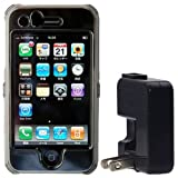 SoftBank iPhone 3G用 クリアハードケース フルサイズ液晶保護フィルム+USB-ACアダプタ付属 クリアブラック RX-IPHCPHOB/AC
