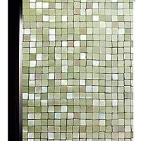 DUOFIRE 3D窓用フィルム 目隠しシート ガラスフィルム 断熱 遮光 結露防止 紫外線UVカット 水で貼る 貼り直し可能 装飾フィルム おしゃれ [モザイク014] (0.6M X 3M)