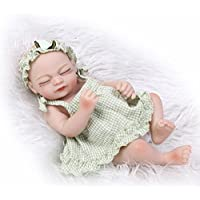 NPKDOLL 目を閉じたとリボーンベビードールハードシミュレーションシリコーンビニール10インチの26センチメートル防水バース子供のおもちゃプレゼントグリーンサンシャイン Reborn Baby Doll A1JP