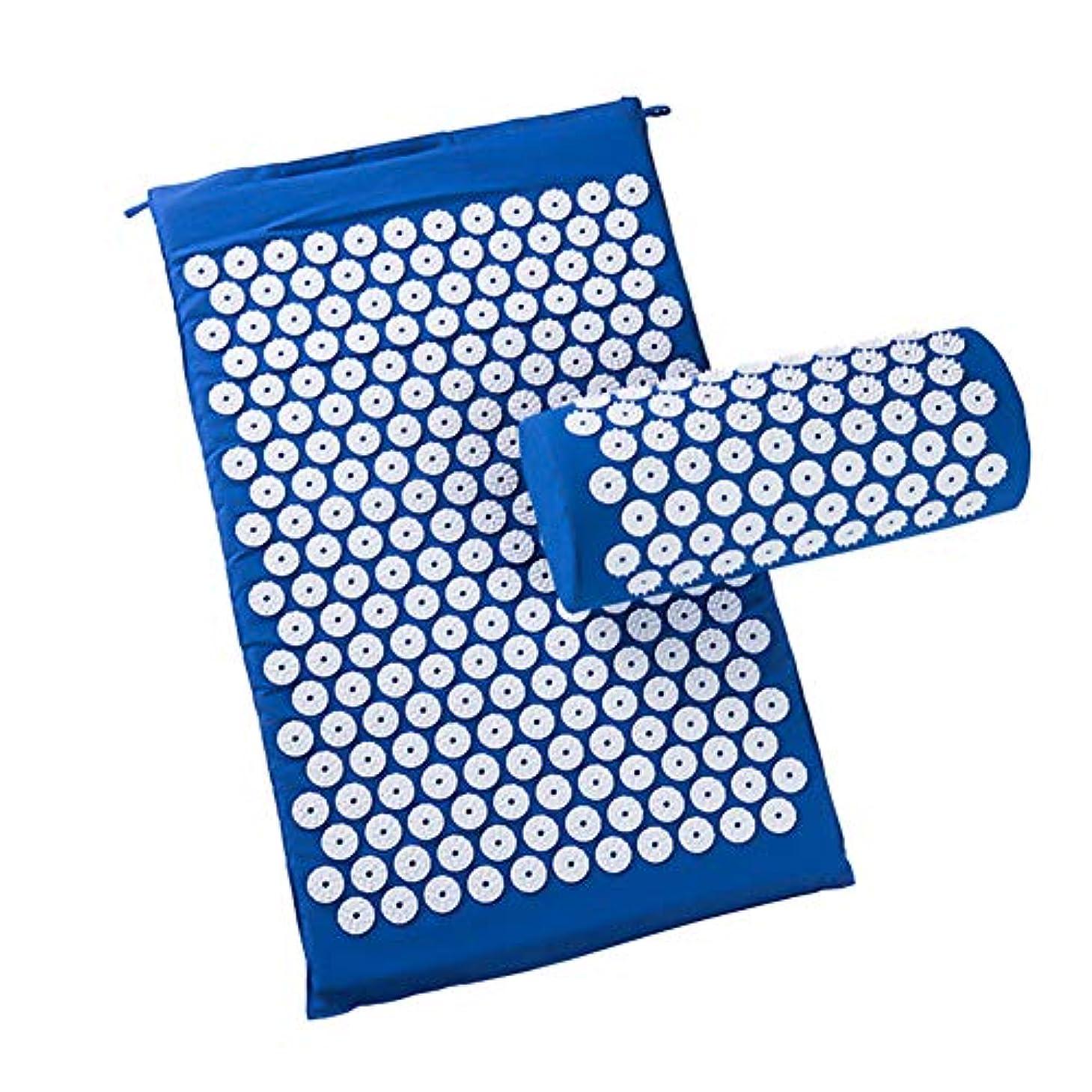 ロック貴重ななめらか(フェイスコジー) Facecozy マッサージクッション 指圧クッション 枕付き 健康療法用 ヨガマット ストレス解消 ボディヘッド フットネック (ブルー)