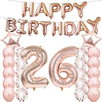 26th誕生日デコレーションパーティー用品、26日誕生日バルーンローズゴールド、数26Mylarバルーン、ラテックスバルーン装飾、Great Sweet 26日誕生日プレゼントガールズ用、写真プロップ