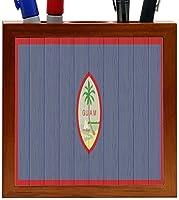 Rikki Knight Guam Flag on Distressed Wood Design 5-Inch Wooden Tile Pen Holder (RK-PH8719) [並行輸入品]