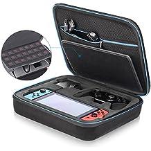 iAmer Nintendo Switch ケース ニンテンドースイッチケース、超大容量、全面保護、スイッチコンソール用のデラックスハードキャリングケース+ACアダプタ+Joy-Conグリップ(Proコントローラ)+HDMIケーブル+Joy-Conストラップ+21個カードポケットと他のアクセサリー