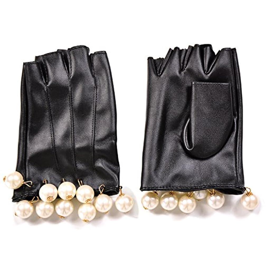ベル法律により尋ねるエレガント フェイクレザー ショートグローブ グローブ 手袋 パール フリル
