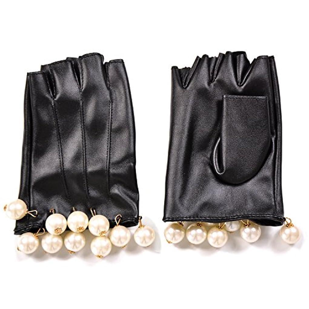 法的ブラインド金銭的なエレガント フェイクレザー ショートグローブ グローブ 手袋 パール フリル
