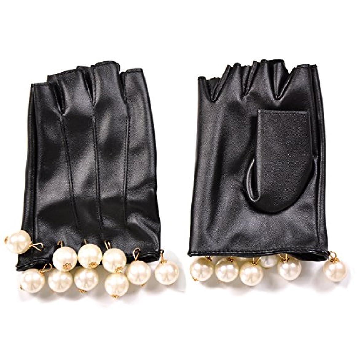 仕出します戸惑う尊敬エレガント フェイクレザー ショートグローブ グローブ 手袋 パール フリル