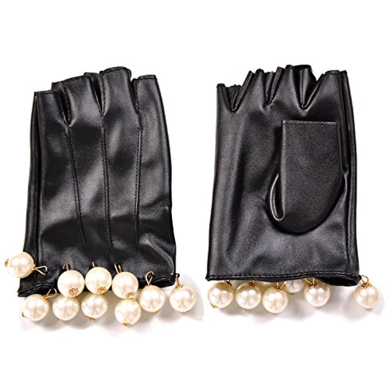 スカルク織機出しますエレガント フェイクレザー ショートグローブ グローブ 手袋 パール フリル