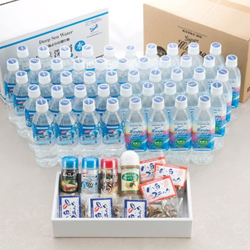 シガレット恥優越室戸の海洋深層水2種+深層水を利用した調味料とおつまみのセット マリンゴールド 高知県 水(2L)全2種48本 調味料4種 おつまみ全2種6個